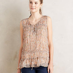 ANTHROPOLOGIE Calla Lace-Up Tank Top 10 M/L NWT